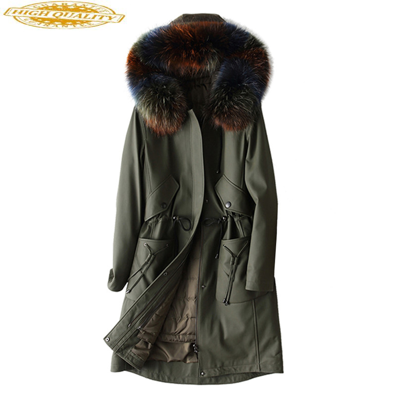 Genuine Leather Jacket Women Long Real Sheepskin Coat Natural Raccoon Fur Collar Hooded Winter Down Jackets 2020 X-38-1