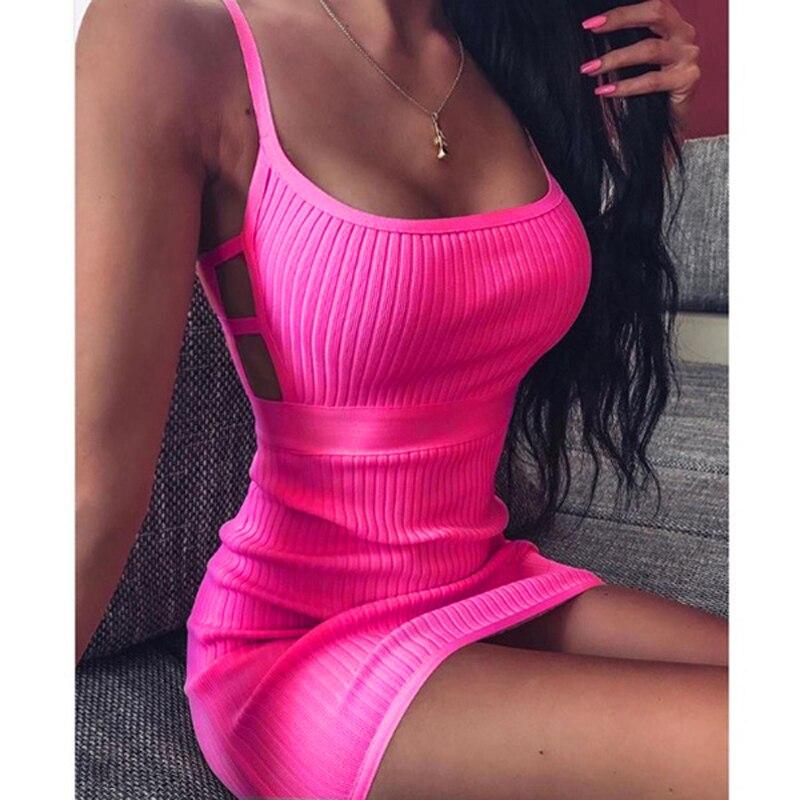 Women Sexy Bodycon Dress Sleeveless O Neck Spaghetti Strap Stretchy Package Hip Short Mini Dress Womens Club Dress Vestido