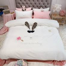 Cute Rabbit Ear Embroidery White Gray Pink Yellow Fleece Fabric Winter Girl Bedding Set Velvet Duvet Cover Bed sheet Pillowcases(China)