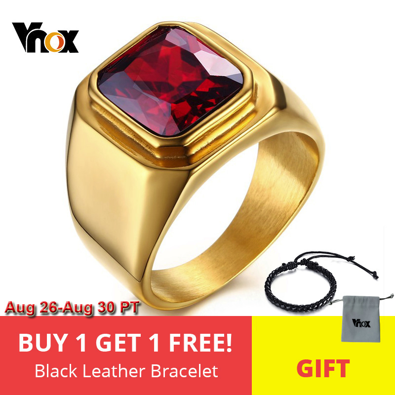 Vnox Men Ring Square-Top Cz-Stone Jewelry-Size Stainless-Steel Gold-Color Male Daily