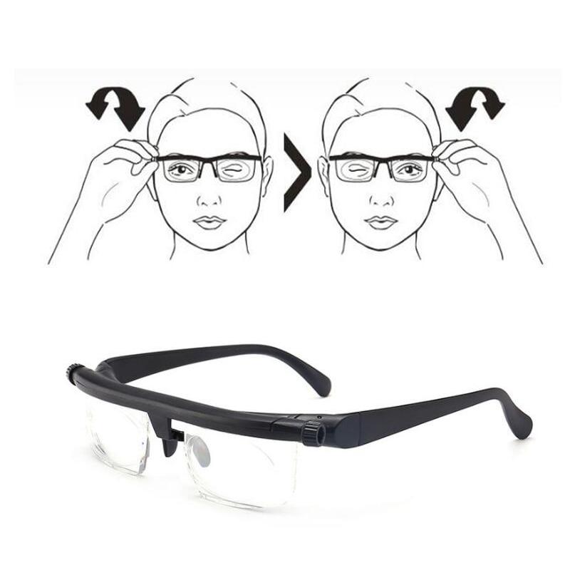 Vision Focus Adjustable TR90 Reading Glasses Myopia Eye Glasses -6D To +3D Variable Lens Correction Binocular Magnifying