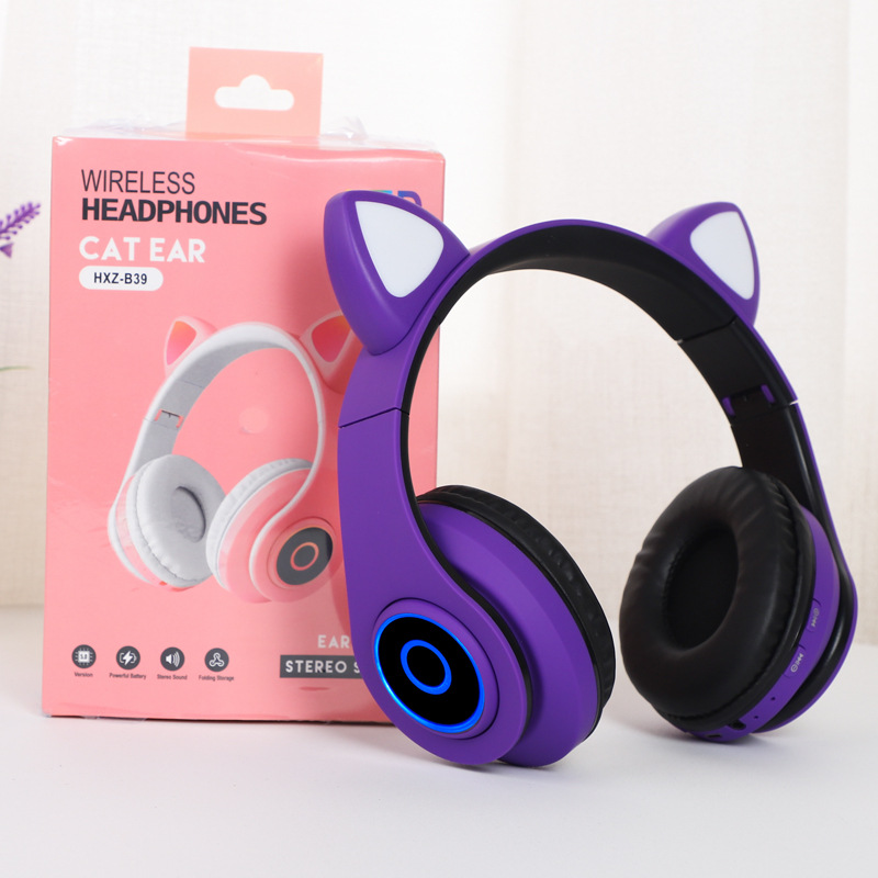 B39 cute wireless cat ear 5.0 bluetooth headset with LED volume control, suitable for children's head-mounted game sports music