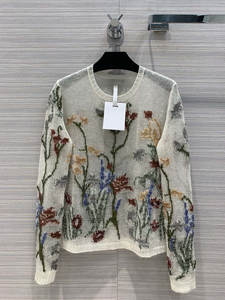 Pullover Cashmere Knitted-Sweater Embroidery Women Thin High-Quality Tclai Luxury