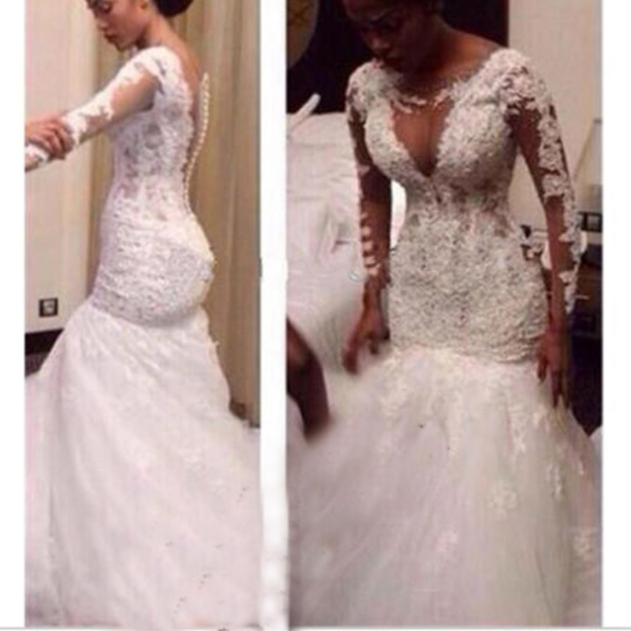 Robe De Mariee White Lace Wedding Dresses 2019 Mermaid Long Sleeves Beaded Wedding Gown Bride Dress Bridal Gown Bruidsjurken