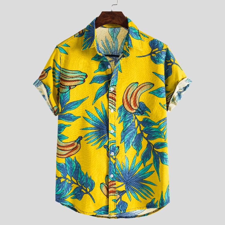 An& Hot Men Hawaiian Shirt Summer Casual Floral Beach Short Sleeve Casual Luau Shirt Tops Men Holiday Loose Shirt