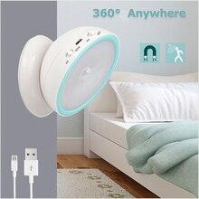 Usb recarregável led night light com sensor de movimento pir para banheiro cozinha quarto armário loft livro iluminação leitura lâmpada mesa