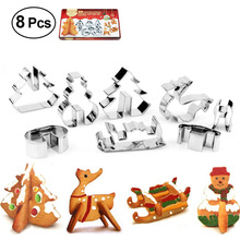 Christmas Cookie Cutters Set of 8 Stainless Steel 3D Cake Baking Molds Cookie Stamp Snowman Biscuit Mold Cookies Cutter Tools christmas tree cookies cutter stainless steel biscuit cake mold baking tools