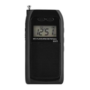 Image 3 - K605 جيب صغير راديو ستيريو FM AM SW MW الرقمية ضبط راديو استقبال MP3 مشغل موسيقى بطارية قابلة للشحن راديو محمول