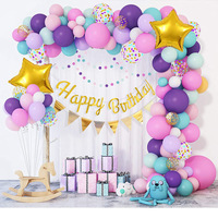 動物の誕生日バルーンセット,97個,ピンク,紫,青,花輪,金色,誕生日,バナー,お祝いの装飾