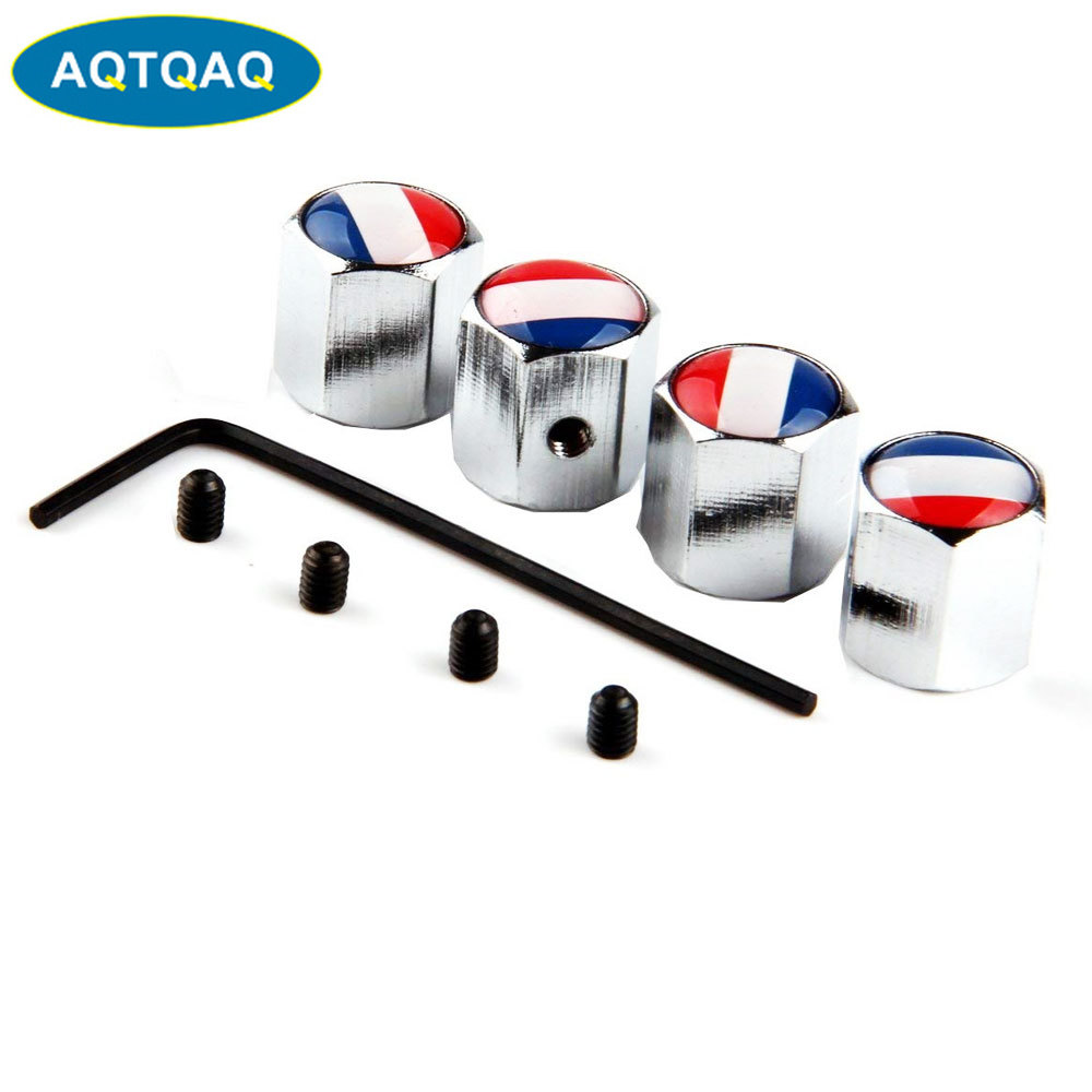 4Pcs/Set Classic France Flag Anti-theft Chrome Car Wheel Tire Valve Stem Cap For Car/Motorcycle,Air Leakproof And Protection You