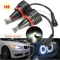 2x H8 40W White Angel Eyes LED Marker HALO Ring Lights Bulbs for BMW E60 E63 E64 E70 X5 E70 X6 E82 E87 E89 Z7 E90 E91 E92