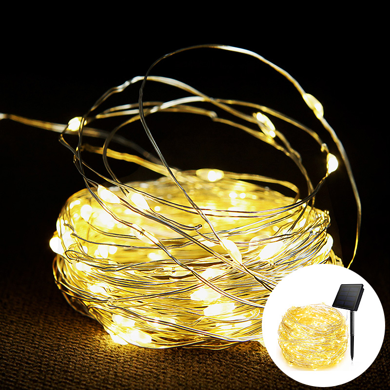 7M/12M/22m LED Outdoor Solar Lamp String Lights Fairy Holiday Christmas Party Garland Waterproof Holiday Christmas Decoration