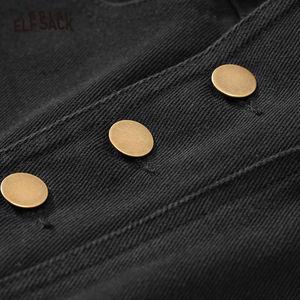 Image 5 - ELFSACK siyah katı tek düğme rahat pantolon kadın 2020 kış orta bel kuşaklı düz gevşek ofis bayanlar temel pantolon