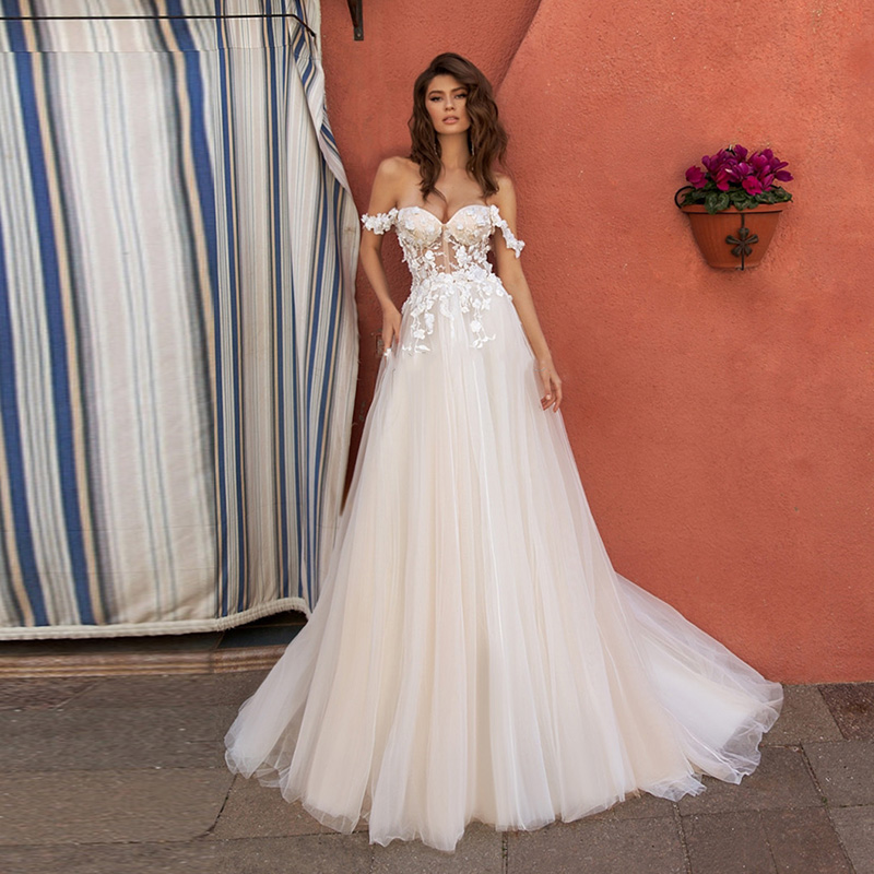 Eightale Wedding Dress Boho Appliques Lace Sweetheart  A-Line Off The Shoulder Custom Made Bohemian Wedding Gowns Bride Dresses
