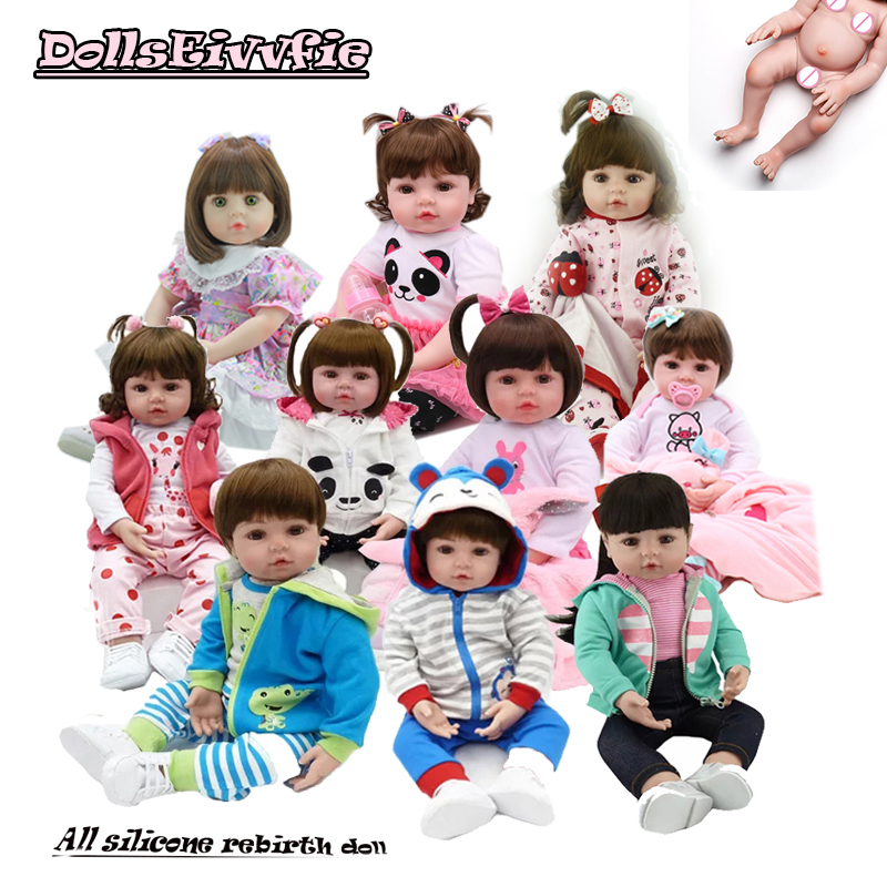 All Silicone Doll 48cm Reborn Bebe Doll Boncas Realistic Toy Girl  Reborn Baby Dolls Christmas Birthday Gift Toy