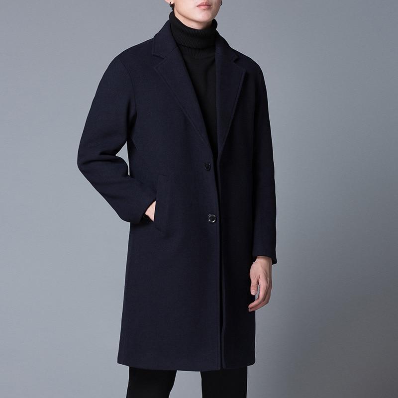 Men Overcoat Casual Fashion Long Woolen Winter Coats Warm Slim Wool Jacket Long Sleeve Solid Single Breasted Free Shippinig