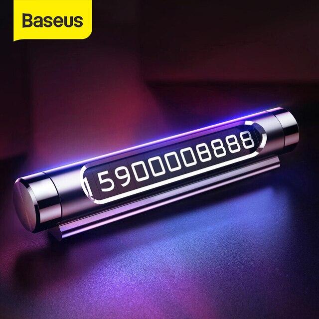 Baseus発光車の一時的な駐車カードホルダー車のスタイリング携帯電話番号プレートカードロッカースイッチ自動車の付属品