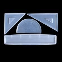 4 формы, линейка из силиконовой смолы, прямоугольные треугольные линейки, транспортир T4MD