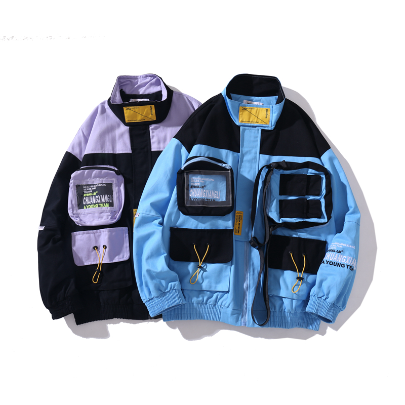 YUECHEN Autumn And Winter New Mens Multi-pocket Decoration Multi-color Stitching Zipper Thickening Jacket Cotton