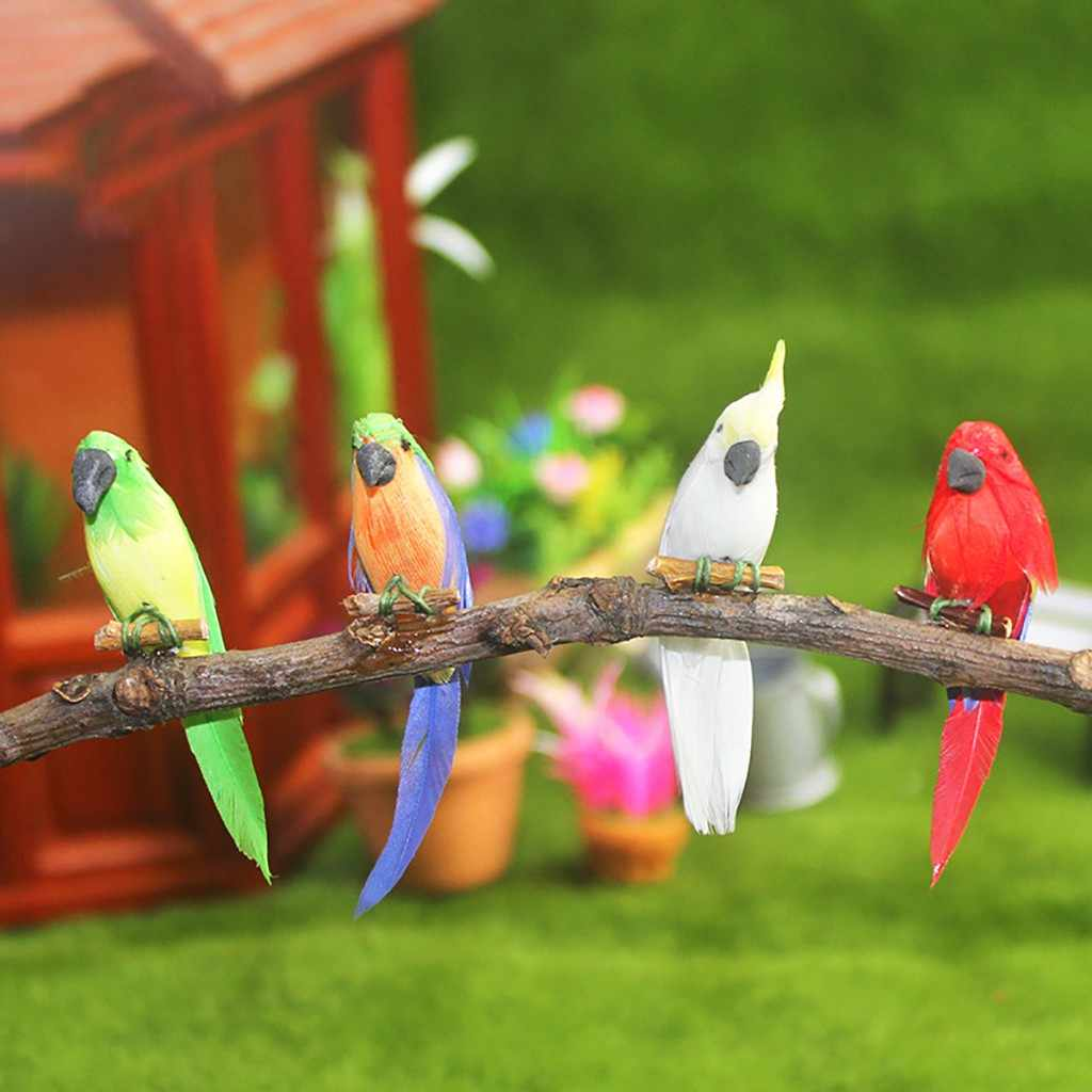 1:12 Dollhouse Miniature Scene Kawaii Animal Parrot Model For Kids Girl Gift Doll Houses Mini Bird Parrots Pretend Play Toys New
