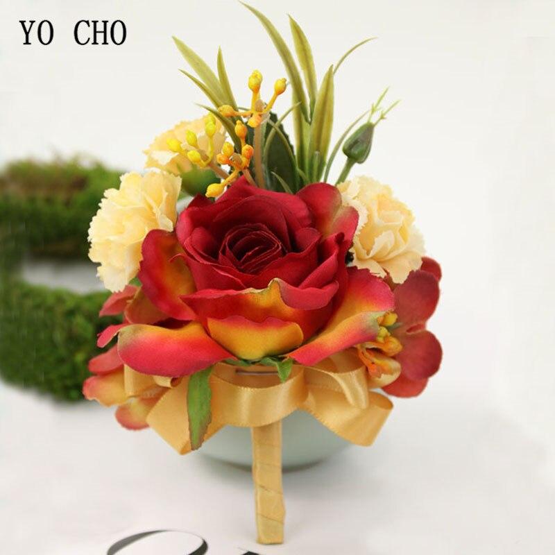 YO CHO Unique Designed Silk Flower Wedding Bridal Brooch Men Boutonniere Artificial Rose Flower Corsage Bracelet