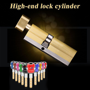 60 65 70 75 80 85 90 95 100mm Door Lock Cylinder Single Sided Blade Break Anti Stainless Steel Bar Brass Snake Groove Cylinder(China)