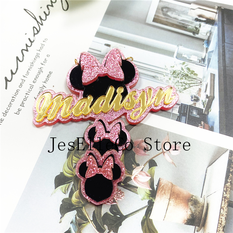 Fashion Simple Personality Acrylic Cartoons Custom Name Earrings And Cartoons Custom Name Necklace For Christmas  Gift