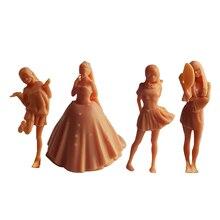 1:64 весы Неокрашенный фигура куклы для девушек-студенток; Модель крошечные вид танцы персонажами настольной кампуса детский украшения-игру...