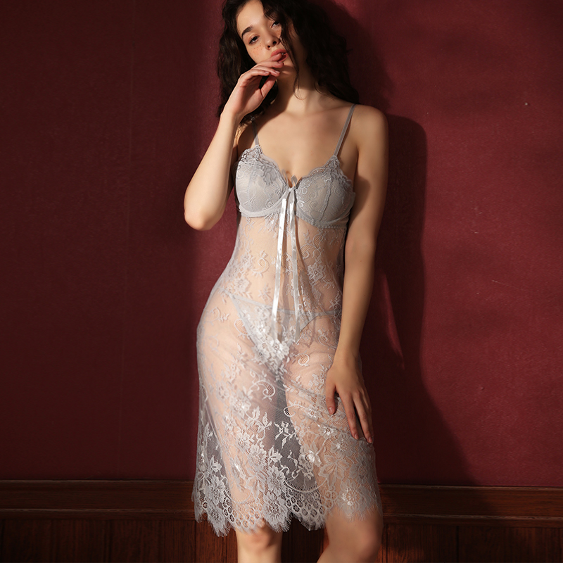 New 2020 Gray Perspective Hot Lace Nightgown With Chest Pad Gather Sexy Lingerie Summer Thin Suspenders Nightdress Women