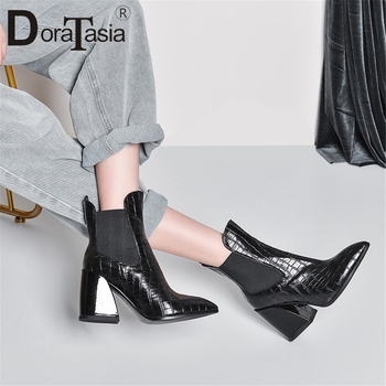 DORATASIA Brand New Big Size 33-43 Genuine Leather High Heels Ankle Boots Shoes Woman Casual Party Ol Autumn Spring Boots Women