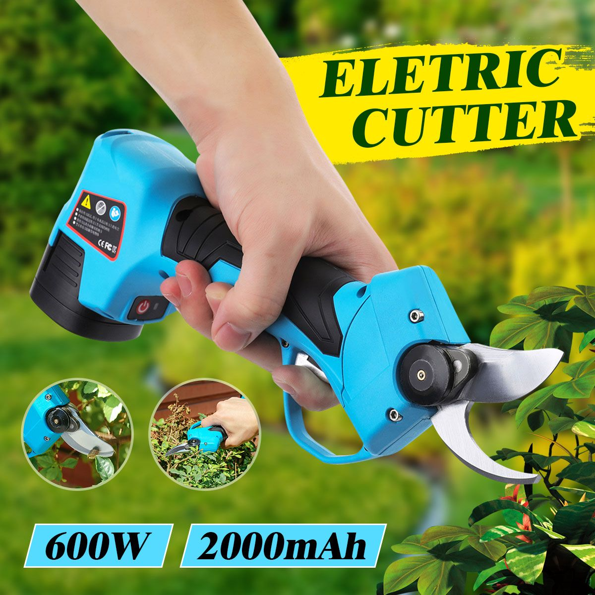 600W 2 Rechargeable Battery Electric Pruning Scissors Cordless Pruning Shears Garden Pruner Secateur Branch Cutter Cutting Tool