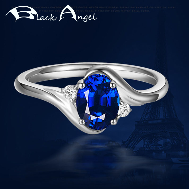 925 Silver Blue Spinel Gemstone Rings For Women Fashion Wedding Sapphire Adjustable Ring Silver Jewelry Wholesale