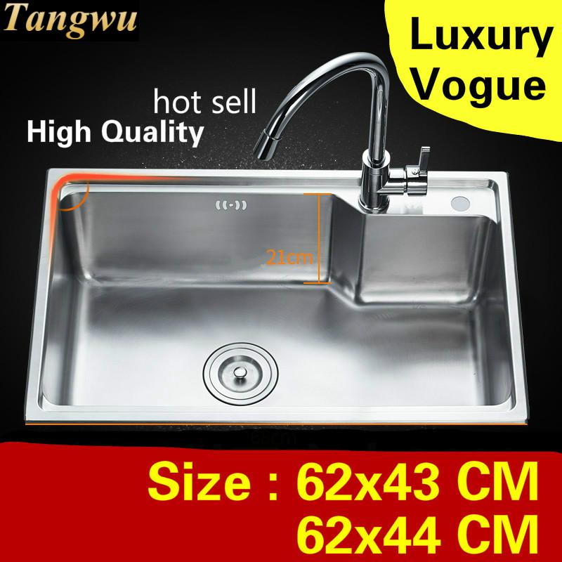 Free Shipping Apartment Do The Dishes Kitchen Single Trough Sink High Quality 304 Stainless Steel Hot Sell Luxury 62x43/62x44 CM