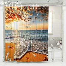 купить Beach Shower Curtains Bathroom Curtain 3D Fabric Shower Curtain Golden Sunset Glow Waterproof Bath Curtain Cortina De Ducha New по цене 659.32 рублей