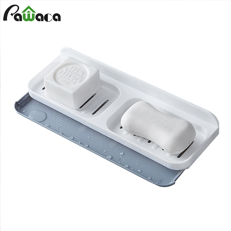 Drawer Type Plastic Soap Dish Bathroom Accessories Drain Soap Box Shower Soap Holder Draining Rack Wall-mounted Soaps Tray