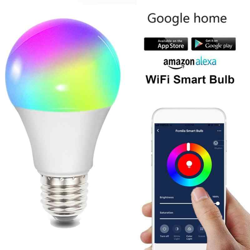 Bluetooth WiFi Smart Bulb Lamp10W E27 B22 E26 Sihir RGB + W LED Berubah Warna Light Bulb Dimmable Bulb dengan amazon Alexa Siri