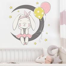 Мультяшные воздушные шары кролик наклейки на стену для детской комнаты домашний декор для девочек спальня гостиная фон Луна Декор наклейки