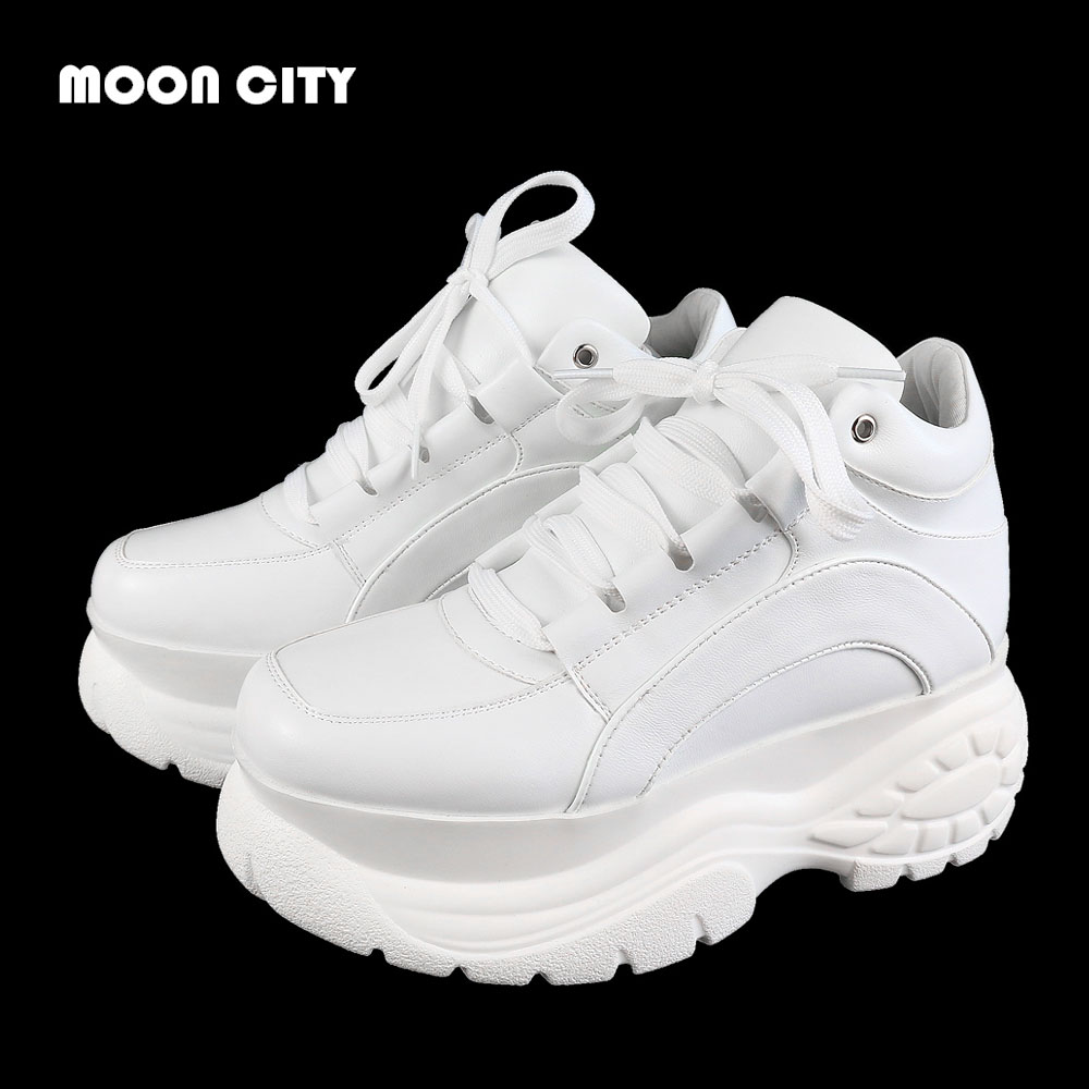Women Platform Sneakers Leather Casual Ladies Chunky Shoes 2020 White Woman High Black Fashion Brand Thick soled Wedge Sneakers 1