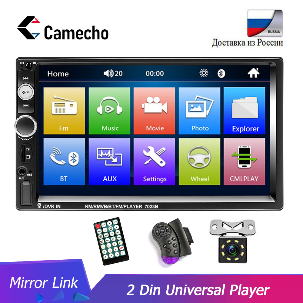 Camecho Car Radio Universal 2 Din 7 Inch Audio Stereo Radio HD Touch Screen Car Video Multimedia MP5 Player FM/USB/AUX Camera image
