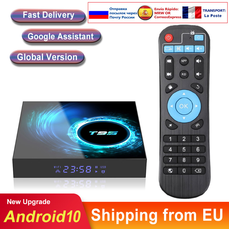 Caixa de tv Android Android 10 T95 6K H616 Quad Core Netflix Media player Play Store Frete Rápido Android smart tv Set top box PK H96max