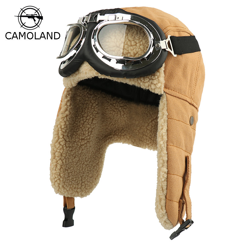 Winter Bomber Hats Earflap Russian Ushanka With Goggles Men Women's Trapper Pilot Hat Faux Berber Fleece Thermal Snow Caps