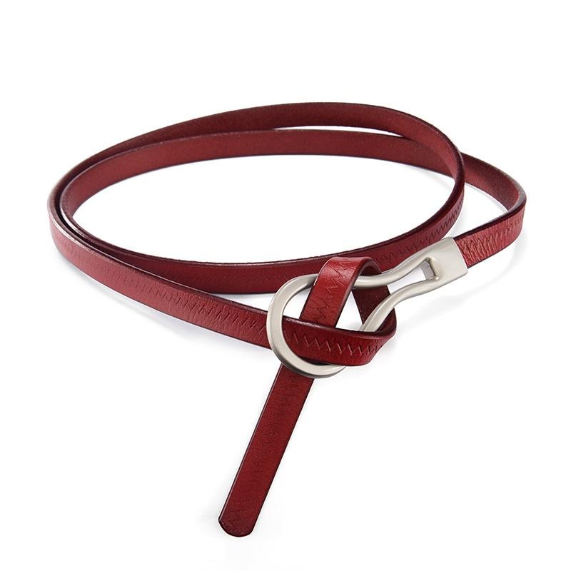 Women Skinny Slim Genuine Leather Belts Waistband Thin Waist Belt  Alloy Buckle