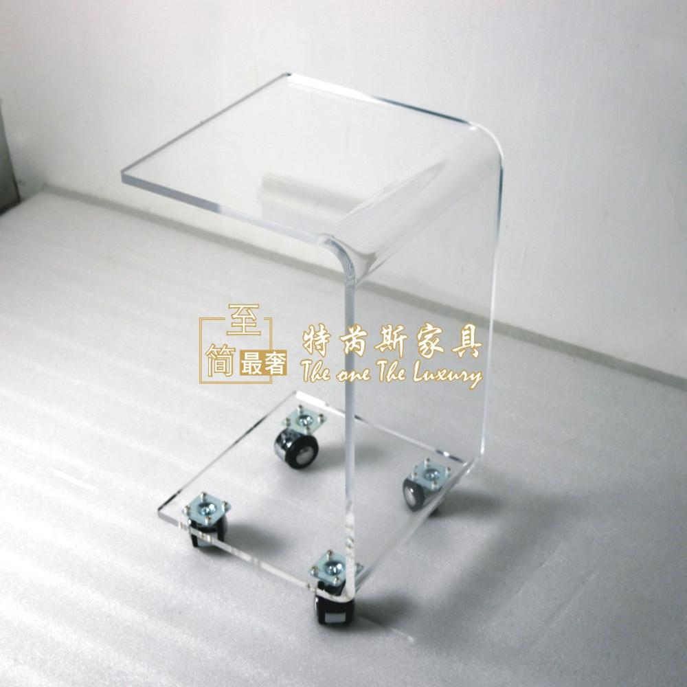 Купить с кэшбэком C Shaped Waterfall Acrylic Occasional Side Tray Table On Wheels, Rolling Sofa Tea Tables