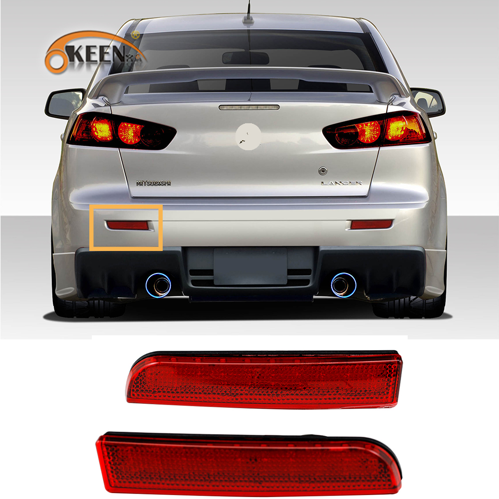2Pcs For <font><b>Mitsubishi</b></font> Lancer EVO X <font><b>Outlander</b></font> Sport RVR ASX <font><b>2008</b></font>-2014 Bumper Reflector Rear Bumper LED Tail Stop Brake <font><b>Light</b></font> image