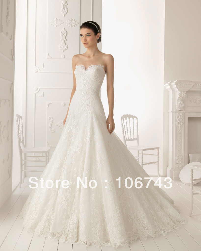 Free Shipping New Style Best Seller Sexy Bride Custom Size A-line Off Shoulder High Quality Lace Sweetheart Ivory Wedding Dress