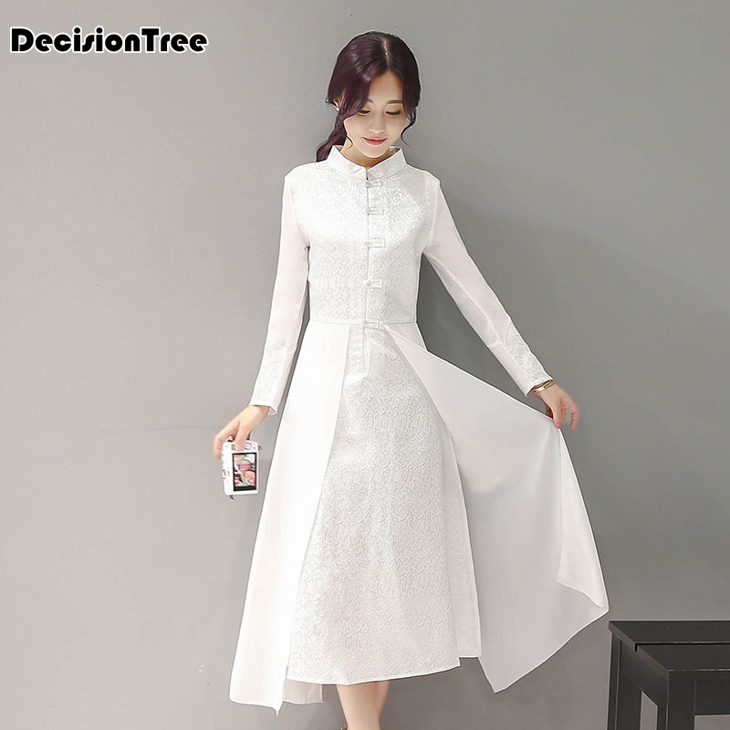 2020 Women Retro Chinese Traditional Dress Silk Cotton Cheongsam Female Lady Broadcloth Wedding Casual Qipao Chinese Dress Qipao