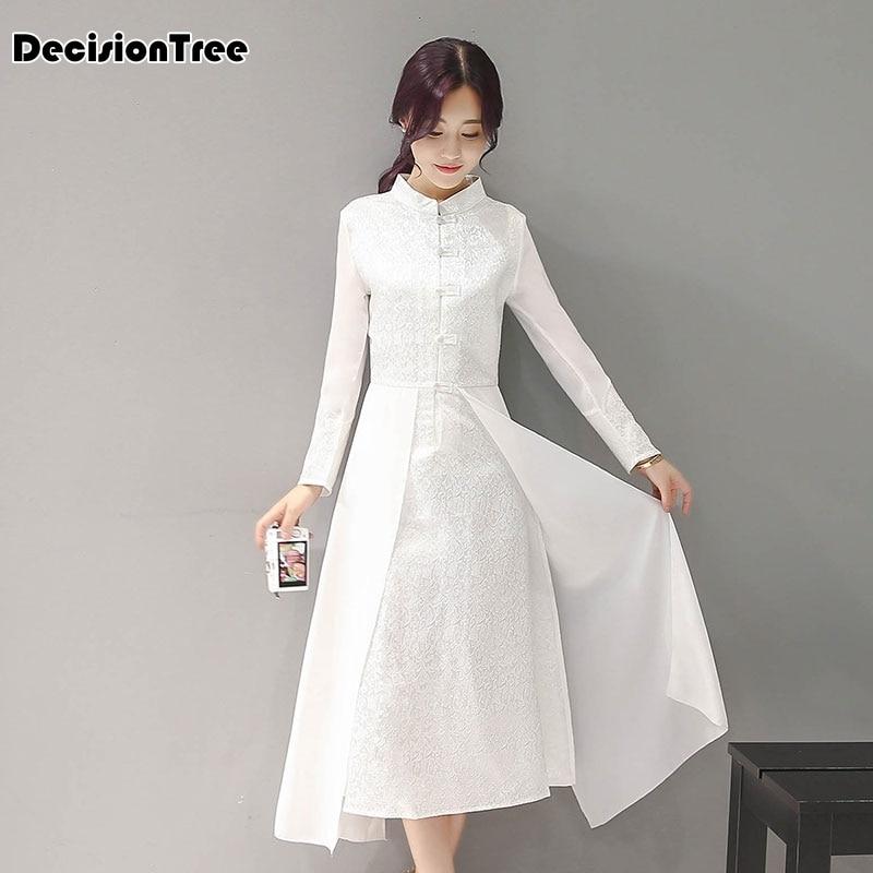2020 Women Retro Chinese Traditional Dress Silk Cotton Cheongsam Female Lady Broadcloth Wedding Casual Qipao Chinese Dress Qipao