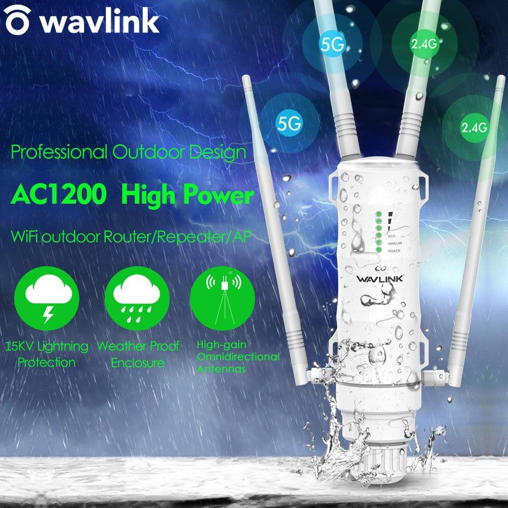 Wavlink AC1200 Высокая мощность Wi-Fi открытый AP/ ретранслятор / маршрутизатор с PoE и высоким коэффициентом усиления 2,4G и 5G антенны wifi расширитель диа...