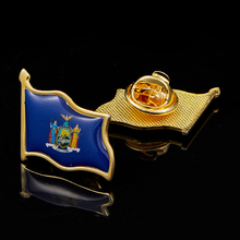 USA New York State Flag Lapel Pin MultiColor Pin Badge W/ Back Buttons Accessories 5pcs usa new jersey state flag lapel pin epoxy medal w butterfly button back