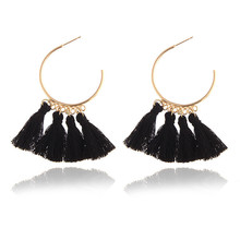 Europe and America New Bohemia Earrings cloth art long tassel geometric circle hollow Earrings female ancient ways the new 2019 noble elegant circle mesh hollow out long tassels of pearl earrings earrings and collars
